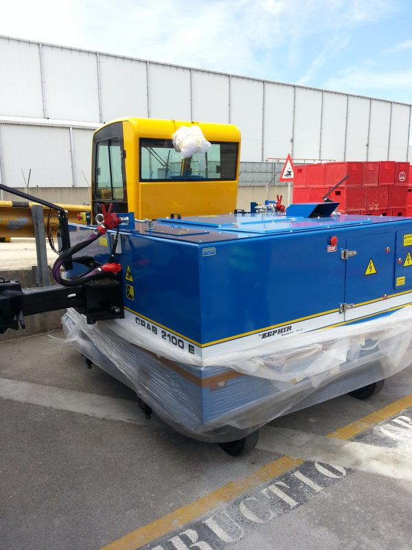 The Zephir Crab 2100 Electric Locomotive arrives on site ready to do duty | Container Handling Equipment |